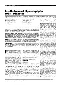 Insulin-Induced Lipoatrophy in Type I Diabetes - Diabetes Care