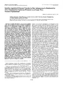 Insulin-regulated Glucose Uptake in Rat Adipocytes Is Mediated by ...