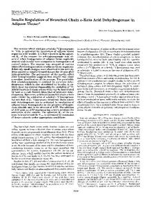 Insulin Regulation of Branched Chain a-Keto Acid Dehydrogenase in ...