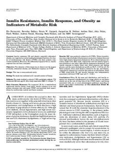 Insulin Resistance, Insulin Response, and Obesity as ... - CiteSeerX