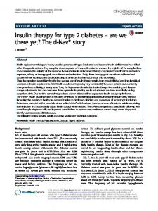 Insulin therapy for type 2 diabetes - Clinical Diabetes and Endocrinology
