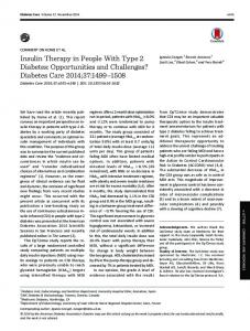 Insulin Therapy in People With Type 2 Diabetes: Opportunities and ...
