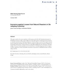 Insurance against Losses from Natural Disasters ... - the United Nations