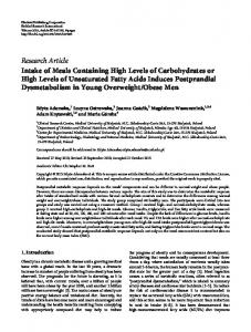 Intake of Meals Containing High Levels of Carbohydrates or High ...