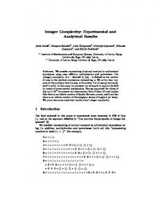 Integer Complexity: Experimental and Analytical Results