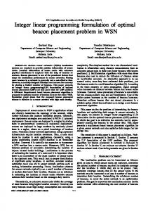 Integer linear programming formulation of optimal beacon placement ...
