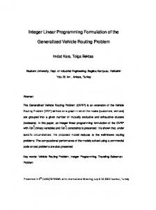 Integer Linear Programming Formulation of the Generalized Vehicle ...