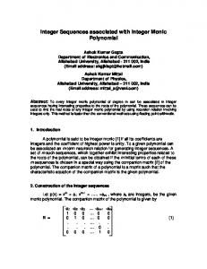 Integer Sequences associated with Integer Monic Polynomial