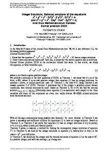 Integer Solutions, Rational solutions of the equations