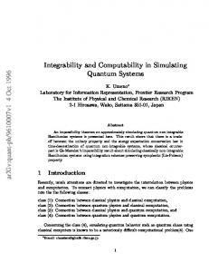 Integrability and Computability in Simulating Quantum Systems