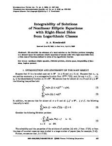 Integrability of Solutions of Nonlinear Elliptic Equations ... - Springer Link
