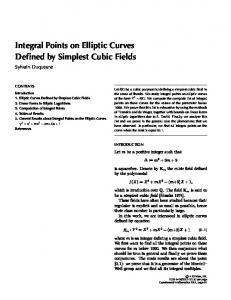 Integral Points on Elliptic Curves Defined by