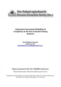 Integrated Assessment Modelling of Complexity in the New Zealand ...