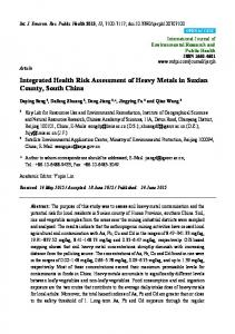 Integrated Health Risk Assessment of Heavy Metals in Suxian ... - MDPI
