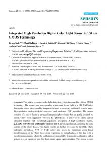 Integrated High Resolution Digital Color Light Sensor in 130 ... - MDPI