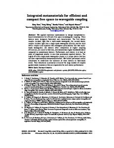 Integrated metamaterials for efficient and compact ... - OSA Publishing