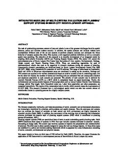 integrated modeling of multi-criteria evaluation and ...