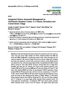 Integrated Palmer Amaranth Management in ... - PubAg - USDA