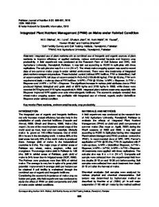Integrated Plant Nutrient Management (IPNM) on Maize under Rainfed ...