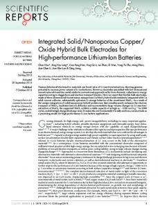Integrated Solid/Nanoporous Copper/ Oxide Hybrid ... - BioMedSearch