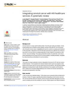 Integrating cervical cancer with HIV healthcare services - PLOS