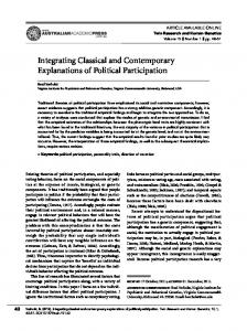 Integrating Classical and Contemporary Explanations of Political ...