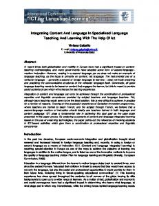 Integrating Content And Language In Specialized Language Teaching ...