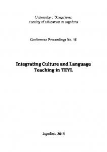 Integrating Culture and Language Teaching in TEYL