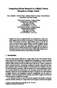Integrating Diverse Research in a Digital Library ... - Cervantes Project