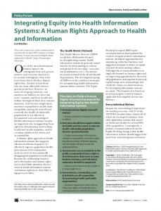 Integrating Equity into Health Information Systems: A Human Rights ...