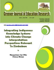 Integrating Indigenous Knowledge Systems into ...