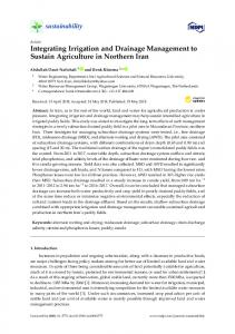 Integrating Irrigation and Drainage Management to Sustain ... - MDPI