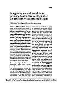 Integrating mental health into primary health care settings after an ...