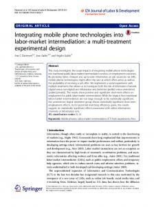 Integrating mobile phone technologies into labor-market intermediation