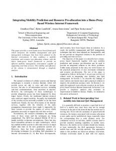 Integrating Mobility Prediction and Resource Pre ... - CiteSeerX