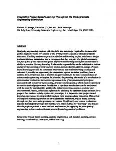 Integrating Project-based Learning Throughout the Undergraduate