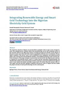 Integrating Renewable Energy and Smart Grid Technology into the ...