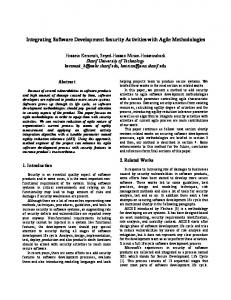 Integrating Software Development Security Activities with Agile ...