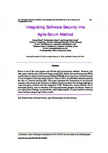 Integrating Software Security into Agile-Scrum Method