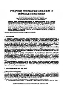 Integrating standard test collections in interactive IR instruction - eWiC