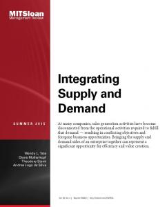 Integrating Supply and Demand - MIT ILP