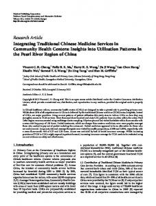 Integrating Traditional Chinese Medicine Services in Community ...