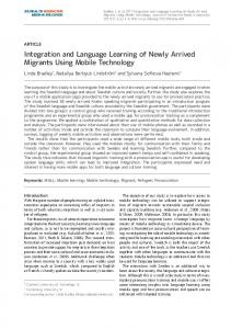 Integration and Language Learning of Newly Arrived Migrants Using ...