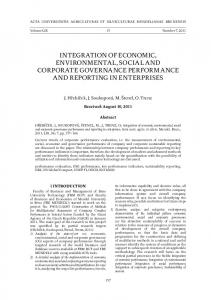 integration of economic, environmental, social and corporate