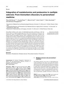 Integration of metabolomics and proteomics in multiple sclerosis: From ...