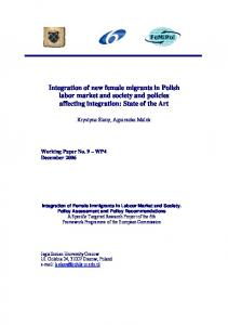 Integration of new female migrants in Polish labor market ... - FeMiPol