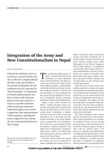 Integration of the Army and New Constitutionalism in ... - SSRN papers