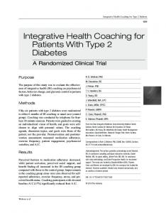 Integrative Health Coaching for Patients With Type 2 ... - SAGE Journals