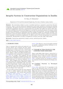 Integrity Systems in Construction Organizations in Zambia