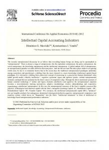 Intellectual Capital Accounting Indicators